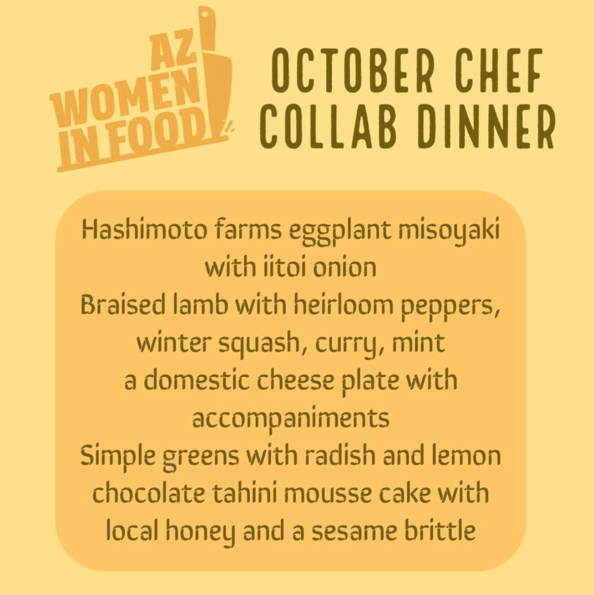 AZ Women in Food October Chef Collab Dinners